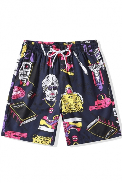 Holiday Beach Funny Cartoon Pattern Drawstring Waist Quick Drying Navy Swim Trunks