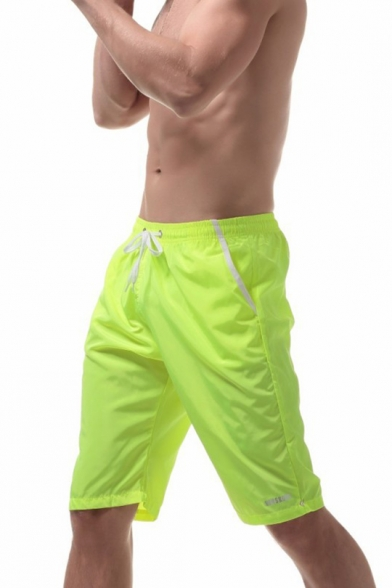 Mens Basic Simple Plain Drawstring Waist Sport Loose Beach Shorts Board Shorts