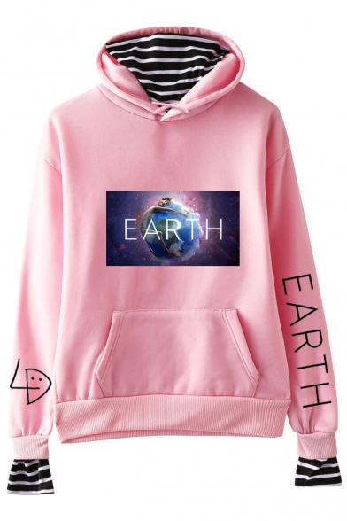 New Fashion Galaxy Earth Printed Fake Two-Piece Long Sleeve Casual Hoodie, Black;dark navy;pink;white;gray, LC517907