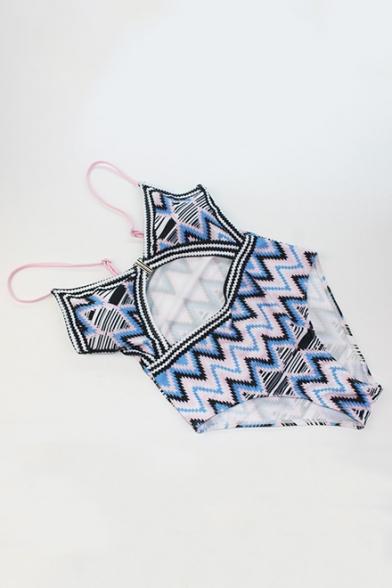 New Stylish Blue Geometric Printed Sexy Cutout One Piece Swimsuit Swimwear for Women