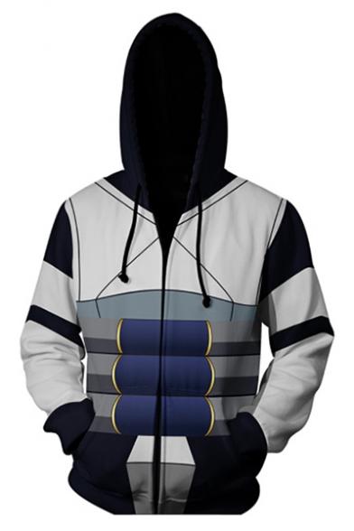 New Trendy Fashion Comic Anime Cosplay 3D Printing Long Sleeve Zip Up Hoodie