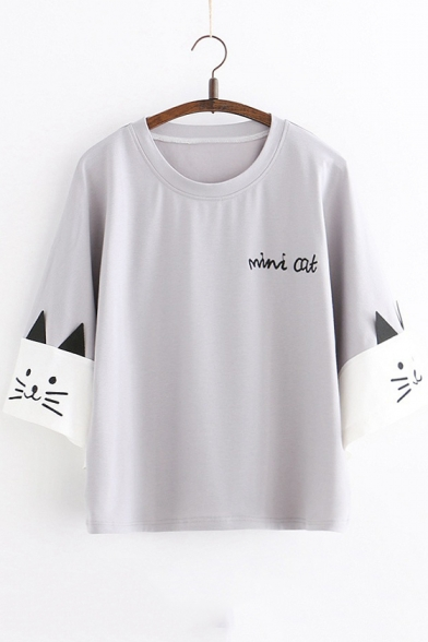 Simple Letter Embroidery Cute Cartoon Sleeve Relaxed Fit T-Shirt