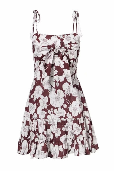 Summer Chic Brown Floral Printed Tassel Tied Strap Bow Front Mini Slip Dress