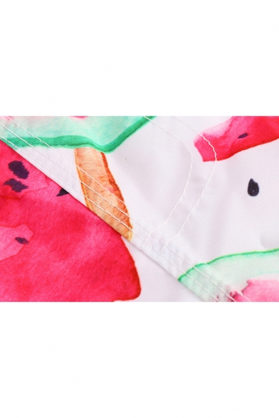 Summer Cool Pink Watermelon Pattern Men's Holiday Beach Swim Trunks with Liner