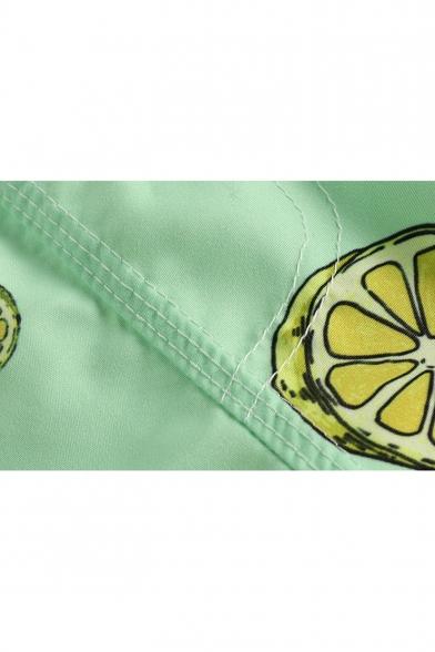 Summer Cyan Pear Lemon Printed Guys Elastic Waist Beach Shorts Swim Trunks with Liner
