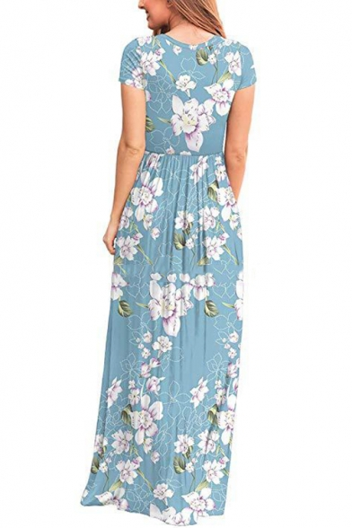 Summer Fancy Light Blue Floral Pattern Round Neck Short Sleeve Maxi Floor Length Dress with Pocket