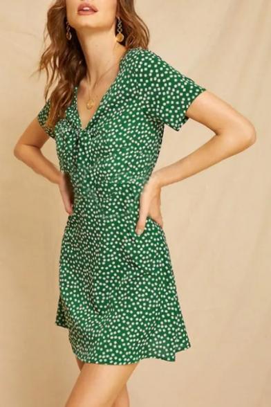 Summer Fashion Dark Green Polka Dot Printed Bow-Tied V Neck Short Sleeve Mini A-Line Dress