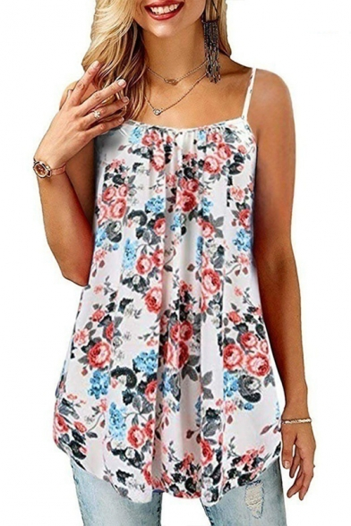 Summer White Chic Flower Printed Womens Casual Loose Cami Top