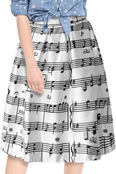 White Unique Musical Note Printed Midi A-Line Flared Skirt