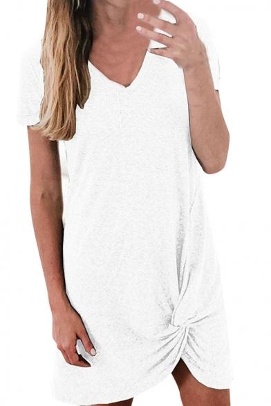 Women's Hot Sale V-Neck Short Sleeve Solid Color Mini Asymmetric Hem Dress