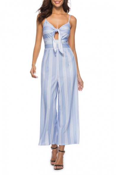 Women's New Blue Stripes Sexy V-Neck Spaghetti Straps Cutout Details Bow-Tied Wide Leg Jumpsuits