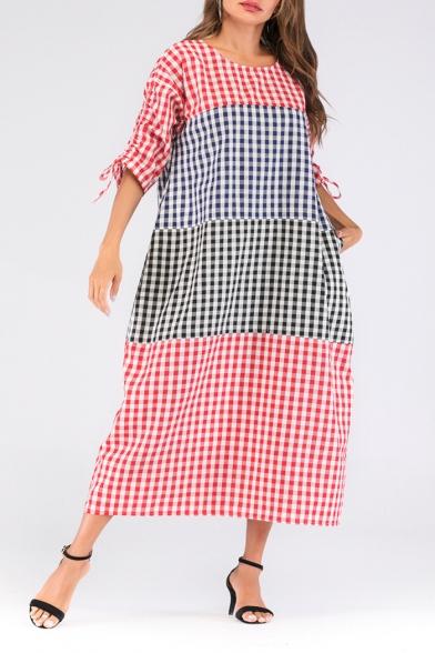 Women's New Trendy Round Neck 3/4 Length Sleeve Color Block Plaid Maxi Oversize Cotton Dress