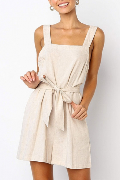 Купить со скидкой Women's Summer Beige Solid Color Sleeveless Bow-Tied Waist Casual Culotte Romper