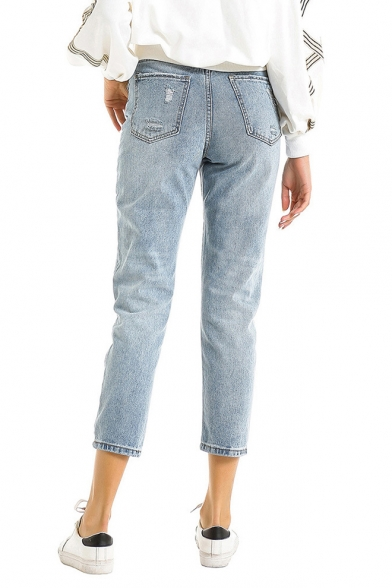Womens Classic Fit Ripped Detail Light Blue Capri Denim Jeans