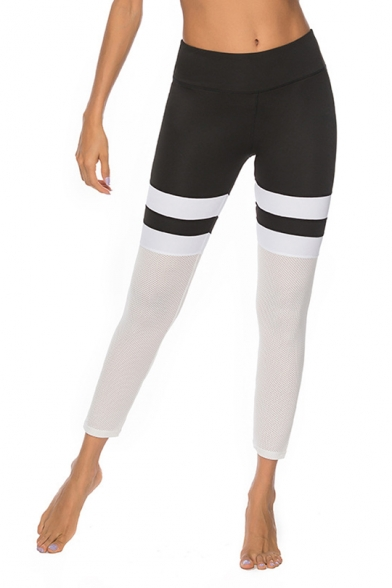 Womens New Trendy Black and White Colorblock Fitness Yoga Leggings