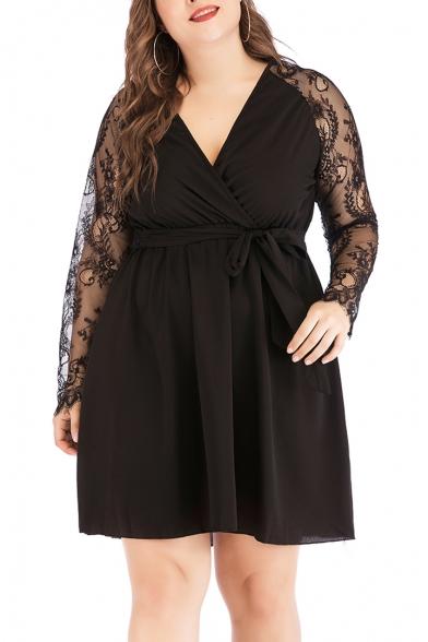 Womens Plus Size Solid Color Lace Long Sleeve V-Neck Wrap Tied Waist Mini A-Line Black Dress