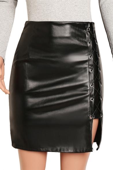 Womens Simple Plain High Rise Grommet Lace-Up Slit Side Black Mini Bodycon PU Skirt