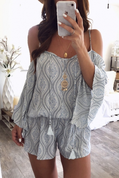Baycheer / Womens Summer Fashion Tribal Printed Cold Shoulder Sexy Strap Casual Loose Romper