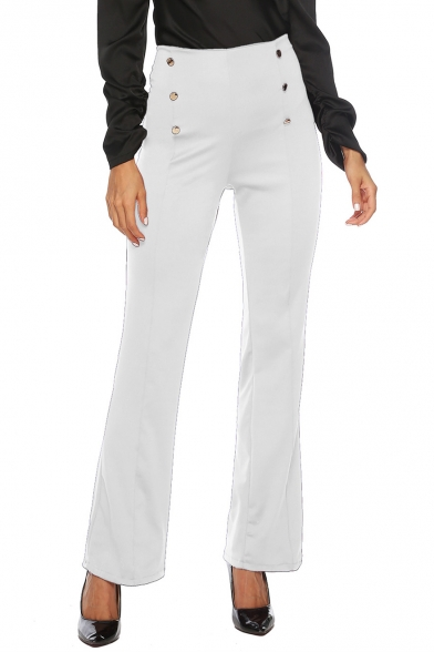 Womens Unique Double Button-Fly Front Solid Color Slim Fit Flare Pants