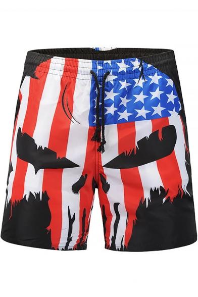 Best Designer Mens Red White and Blue Skull Flag Print Drawstring Beachwear Swim Shorts