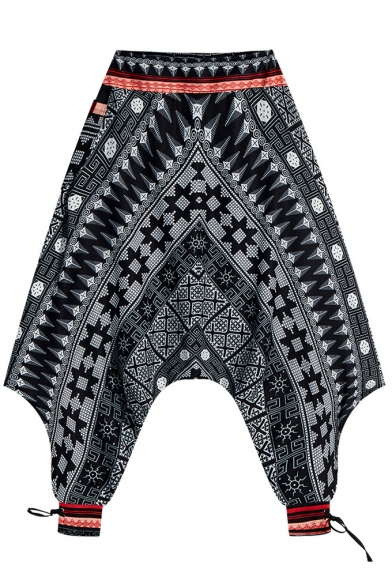 Black Tribal Geometric Printing Casual Cropped Baggy Bloomers Harem Pants for Men