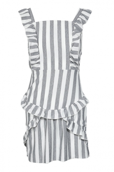 Fashion Grey and White Stripe Printed Ruffled Hem Mini Dress for Women