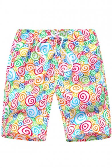 Funny Cartoon Colorful Candy Pattern Drawstring Waist Casual Loose Beach Shorts Swim Shorts