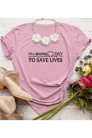 Funny Letter TO SAVE LIVES Basic Round Neck Cotton Casual T-Shir, Burgundy;pink;white;gray;yellow;army green;fluorescent green;marble, LC526325