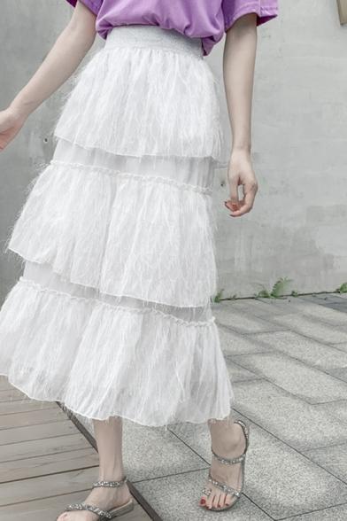 Girls Summer Sweet Tassel Hem Maxi Tiered Ruffle A-Line Gauze Skirt