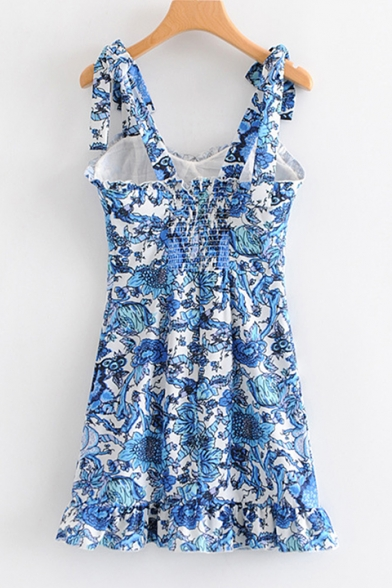 Girls Summer Trendy Blue Floral Printed Tied Strap Mini A-Line Cami Dress