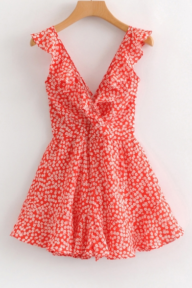 Girls Summer Trendy Red Floral Printed V-Neck Bow-Tied Back Mini A-Line Beach Dress