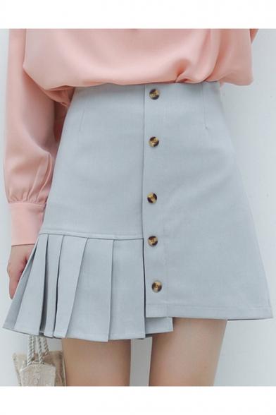 Light Grey Blue High Rise Girls Button Down Pleated Mini A-Line Asymmetrical Skirt