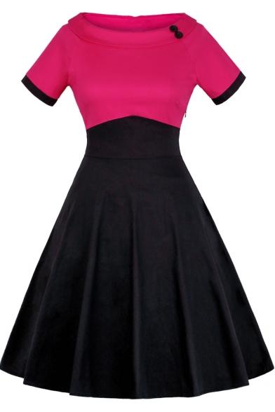 New Stylish Off the Shoulder Short Sleeve Color Block Plain Mini Flare Dress for Women