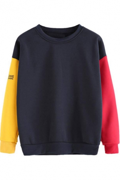New Stylish Unique Colorblock Round Neck Long Sleeve Pullover Sweatshirt
