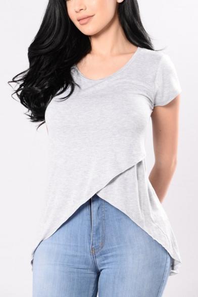 omens Solid Color Round Neck Short Sleeve Longline Irregular T-Shirt