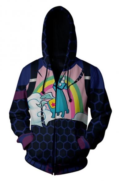 Stylish Rainbow Hobby Horse Printed Long Sleeve Blue Zip Up Hoodie