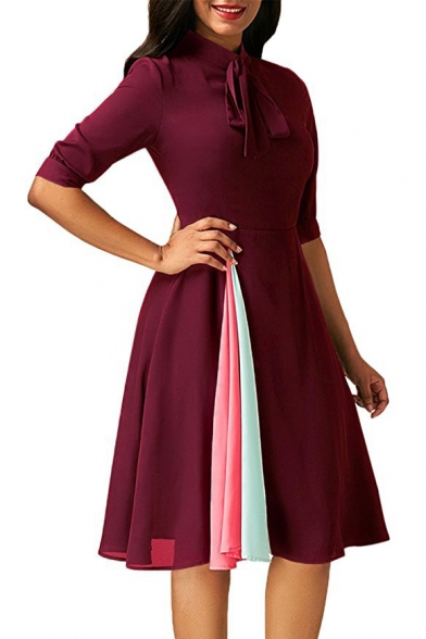Summer Hot Fashion Solid Color Tied Stand Collar Half Sleeve Midi A-line Dress For Women