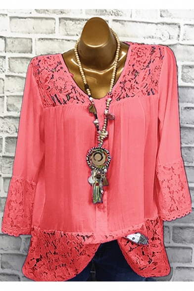 Summer Solid Color V-Neck Three-Quarter Sleeve Lace Panel Relaxed T-Shirt