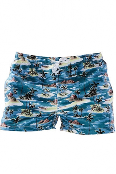 Summer Tropical Coconut Palm Printed Drawstring Waist Lounge Swim Shorts for Guys