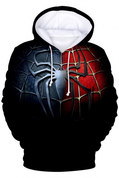Trendy Blue and Red Spider Far From Home 3D Printing Long Sleeve Pullover Hoodie