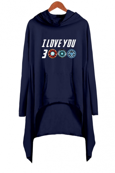 Unique Awesome Letter I Love You 3000 Long Sleeve Asymmetrical Hooded Dress