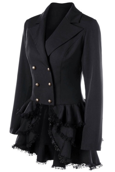 Women's Black Tuxedo Gothic Tailcoat Jacket Double Breasted Ruffled Hem Steampunk Victorian Coat Wedding Uniform