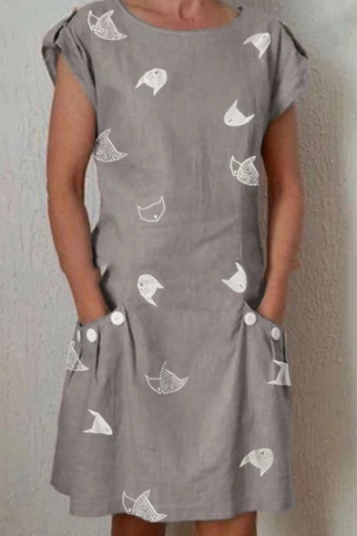 Women's Fashion Cute Cat Pattern Round Neck Short Sleeve Mini Shift Dress With Pockets