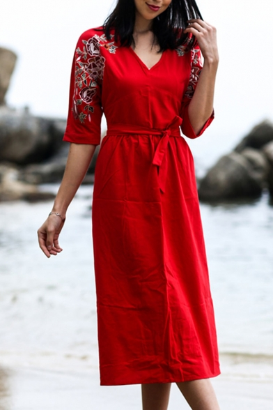 Women's Holiday Floral Printed V-Neck Three-Quarter Sleeve Bow-Tied Waist Midi A-Line Dress