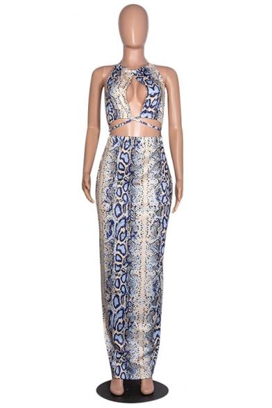 Women's Hot Fashion Leaf Print Halter Sleeveless Cut Out Detail Maxi Nightclub Bodycon Dress