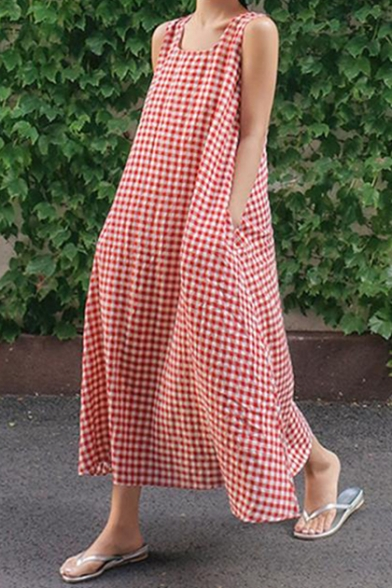 Women's Hot Fashion Plaids Print Scoop Neck Sleeveless Loose Maxi Dress With Pockets