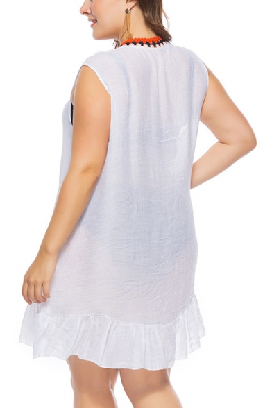 Women's Hot Fashion Plain Print V-Neck Sleeveless Sexy Cut Out Detail Mini White Beach Cotton Dress