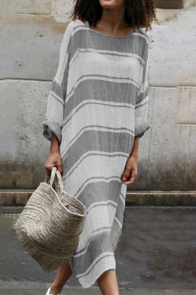 Women's Color Block Striped Pattern Round Neck Long Sleeve Maxi Dress