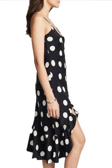 Women's New Classical Polka Dot Print V-Neck Sleeveless Midi Black Asymmetric Hem Dress
