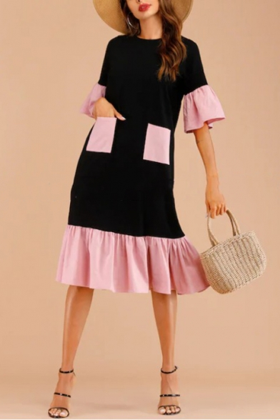 Women's New Trendy Color Block Round Neck Flare Half Sleeve Ruffle Detail Black Shift Dress With Pockets